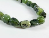 "Mossy green serpentine nuggets or rounded cubes 10mm, 15.5"" strand, 36 beads"