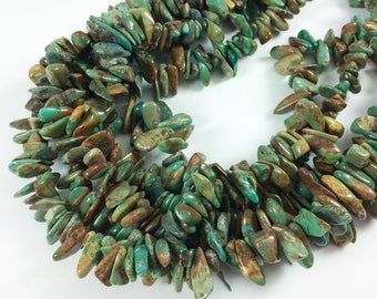 """Turquoise nuggets, top-drilled tumbled chips, 12-18mm average, 16"""" strand"""