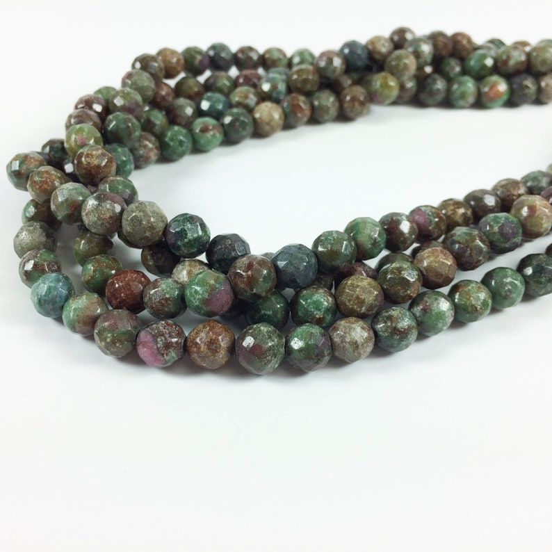 Fancy jasper 8mm faceted round beads 16 strand image 0