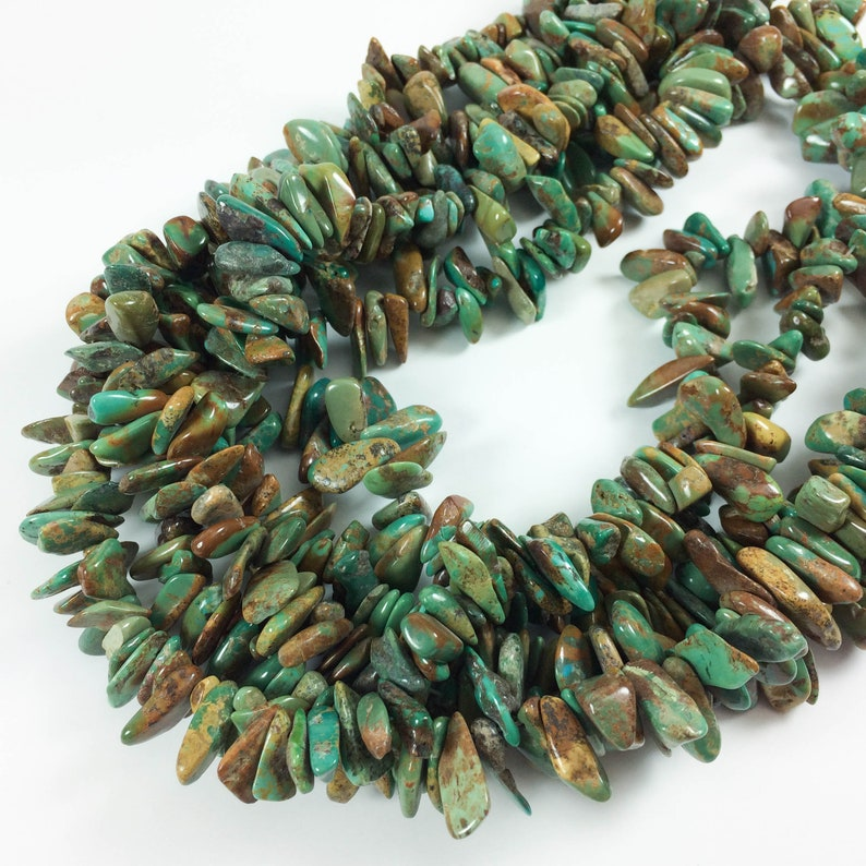 Turquoise nuggets top-drilled tumbled chips 12-18mm average image 0