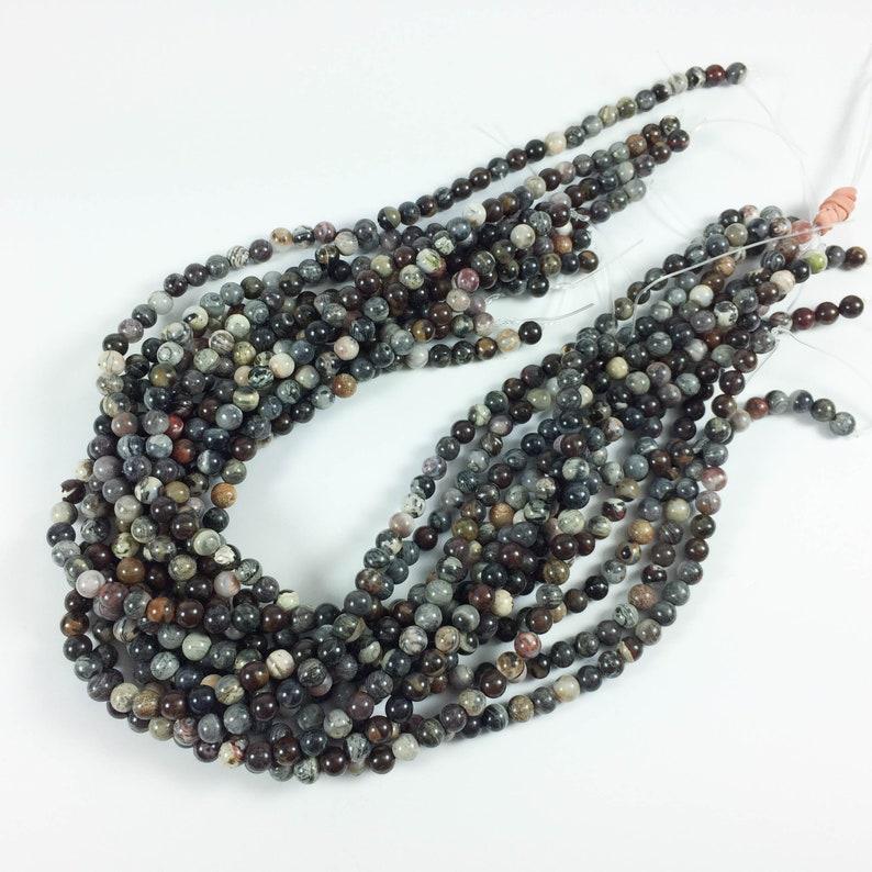 Black silver leaf jasper 6mm round beads 15-16 strand image 0