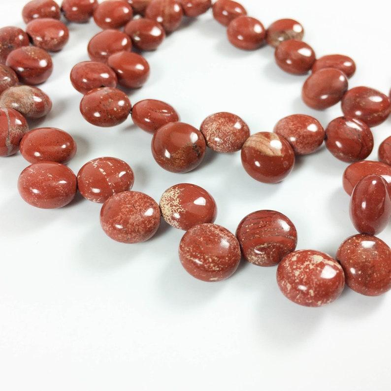 Red Jasper briolette-drilled rondelles 15 strand 49 image 0