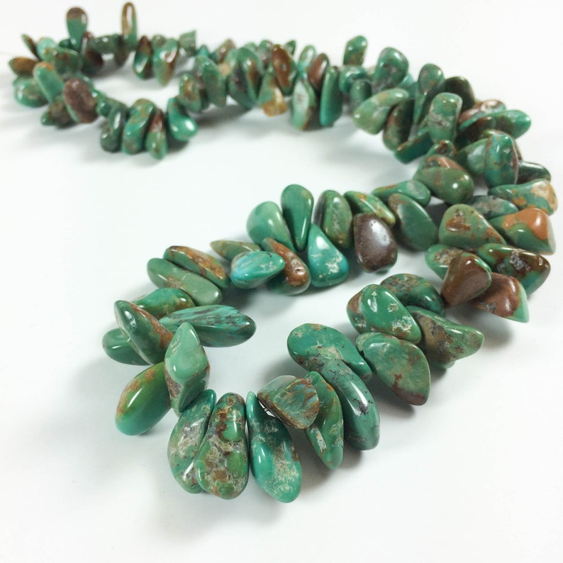 Turquoise nuggets top-drilled tumbled chips almost image 0
