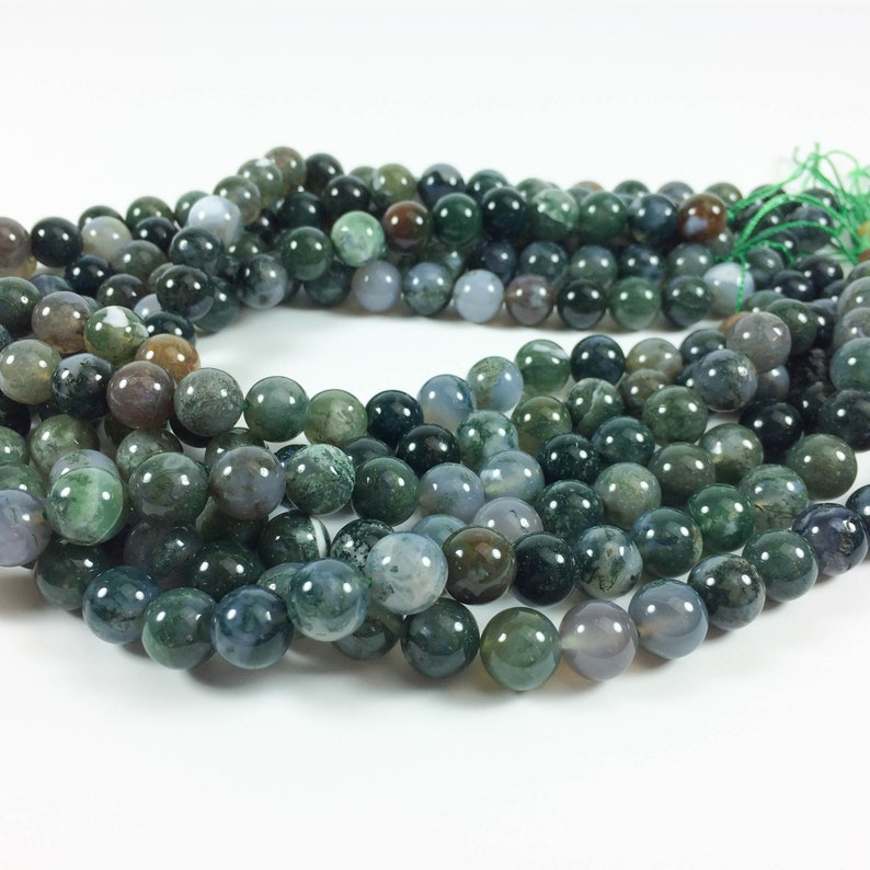 Moss agate 10mm round beads 15-16 strand approximately image 0