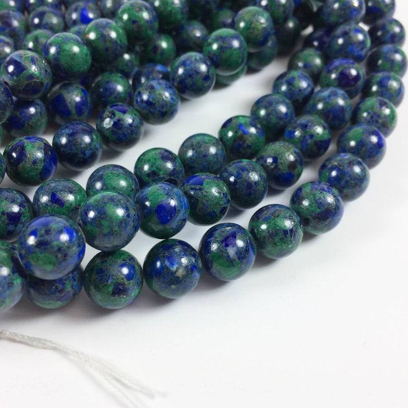 Azurite malachite 10mm round beads 15-16 strand image 0