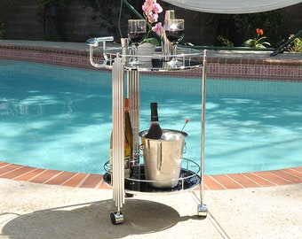 Serving Tray Table Bar Cart Trolley On Wheels