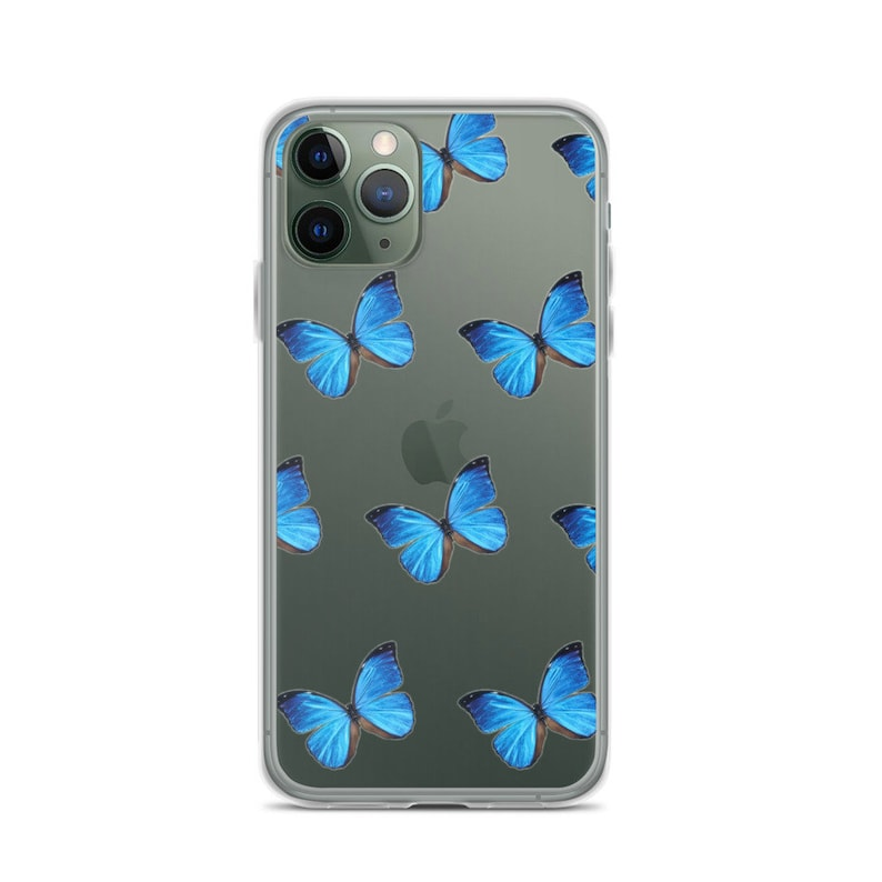 Aesthetic Blue Butterfly Clear Phone Case For Apple iPhone ...