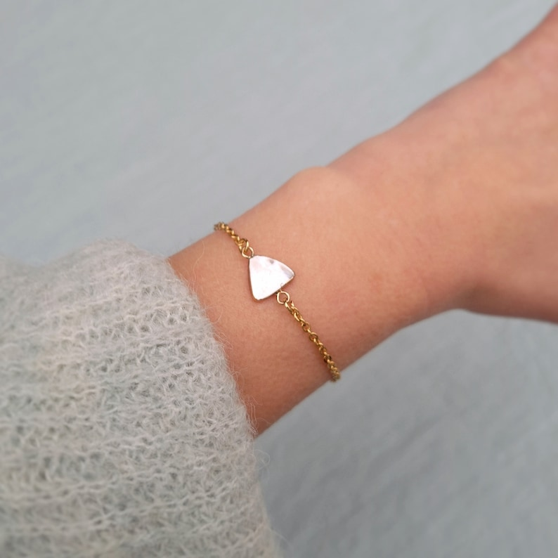 Gift for her 18k Gold filled chain bracelet with Cubic Zirconia link Mother of pearl shell or  trochus shell link Stainless steel link