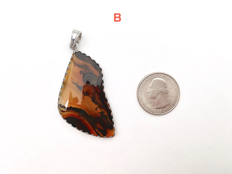 Your Choice Green Yellow Brown Statement Pendant Agate Gemstone Pendant with Sterling Silver Kasidon