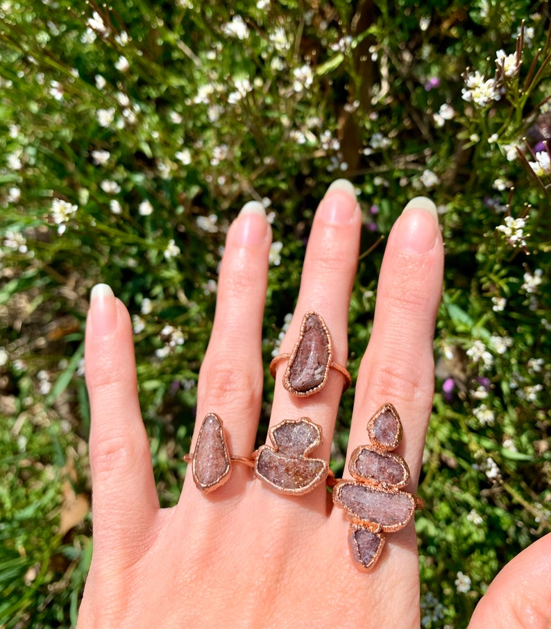 Aventurine ring Raw crystal ring Boho ring Copper ring Hippie festival Raw gemstone ring Gypsy ring Electroformed ring Witchy ring