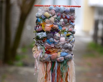 POOFY WEAVE woven wall hanging, recycled materials, eco-friendly, wall hanging, weaving, tapestry, woven wall art, home decor