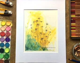 BLACK EYED SUSAN watercolor print, multimedia 8x10, matted to 11x14