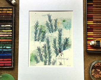 ROSEMARY WATERCOLOR PRINT, multimedia 8x10, matted to 11x14