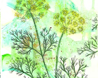 DILL WATERCOLOR PRINT, multimedia 8x10, matted to 11x14