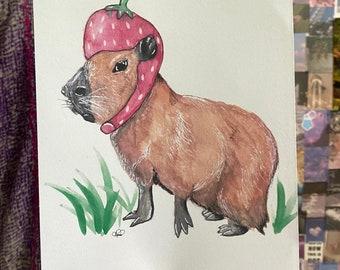 Capybara in a Strawberry Hat Print :)