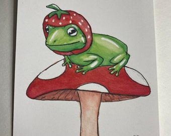 Frog With A Strawberry Hat - Print