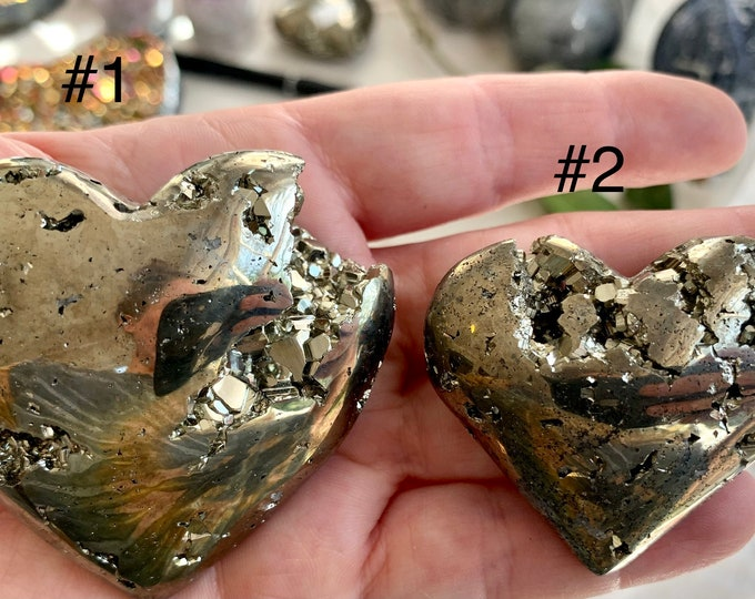 1 Piece Pyrite Heart-Pyrite Carved Heart Druzy Pyrite Heart Pyrite Luck Fool/'s Gold Heart Shape You Choose Protection Pyrite Stone,