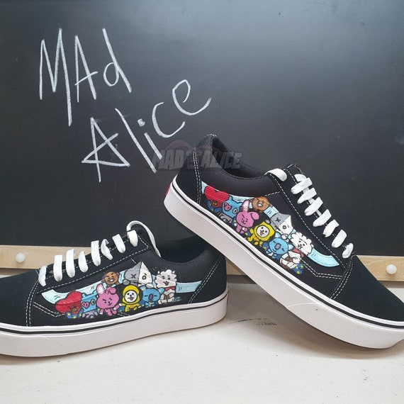 BTS themed hand painted custon VANS old