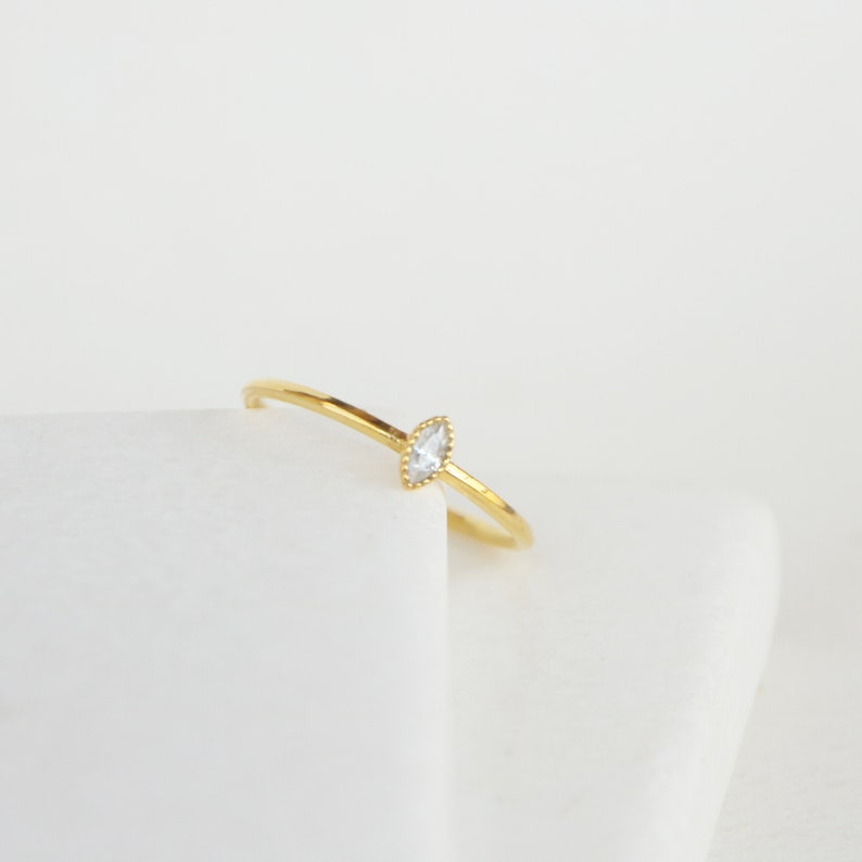 Dainty skinny stacking ring Minimalist gemstone sterling silver ring Tiny marquise ring