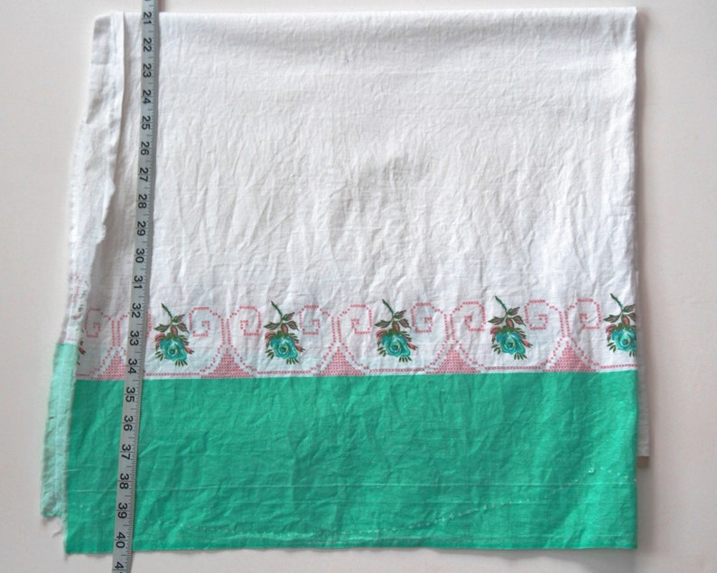 Vintage border aqua green rose feedsack feed sack vintage cotton fabric quilt quilting mid century valence curtain dress material CUTTER