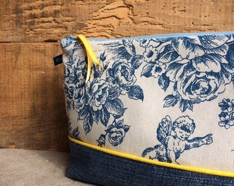 EsKampette: blue jouy canvas clutch and upcycled denim
