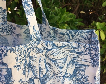 """Kabas bag """"Toile de Jouy"""" in upcycled fabric (tote bag, beach bag, shopping bag)"""
