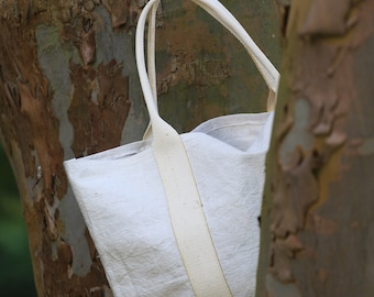 Old upcycled cotton and linen bag (tote bag)