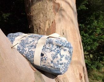 "EsKale ""Toile de jouy"" polochon bag in upcycled fabrics (travel bag, weekend bag)"