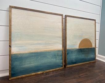 Ocean Wood Wall Art | Boho Home decor | Minimalist 2 piece set