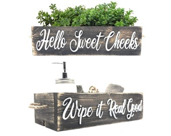 Hello Sweet Cheeks Bathroom Box, Funny Sayings On Both Sides - Cute Wooden Toilet Paper Holder Perfect for Country, Rustic Farmhouse Style
