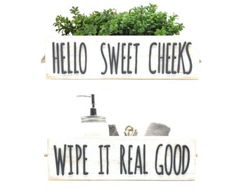 Hello Sweet Cheeks Bathroom Decor Box White Wash - Rustic Farmhouse Wooden Toilet Paper Holder - Dual Side Cut Out Lettering