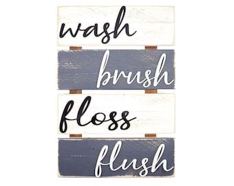 Farmhouse Bathroom Wall Decor - White & Grey Rustic Style Bathroom Rules Sign - Wash Brush Floss Flush - Hanging Wooden Signs, Boho Decor