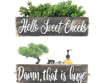 Hello Sweet Cheeks Bathroom Box, Funny Sayings On Both Sides - Cute Toilet Paper Holder Perfect for Country, Rustic Farmhouse Style, Boho