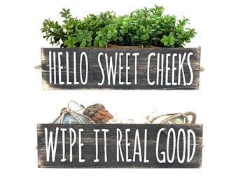 Hello Sweet Cheeks Bathroom Decor Box - Rustic Farmhouse Wooden Toilet Paper Holder - Dual Side Cut Out Lettering