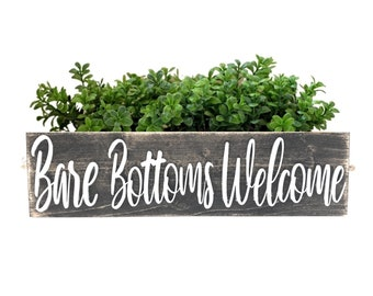 Bare Bottoms Welcome Bathroom Decor Box - Decorative Wood Storage Bin for Organization, Real Wood Lettering, Natural Jute Rope Handles