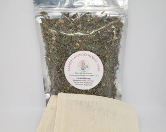 RELAX... Lavender Herbal Bath Tea and/or Foot Soak with 2 Muslin Pouches