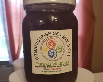 16oz* ELDERBERRY Infused 100% Organic Wild-Crafted Irish Moss Gel (Sea Moss Gel) Made to ORDER by a Naturopathic Doctor!! *Free Shipping*