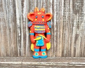 Chalkware Kachina Doll Wall Plaque, Vintage Hopi Southwest Art By Holly Enterprises, Labeled Hu Kachina W Bold Orange, Yellow Blue Colors