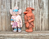 Chalkware Kachina Doll Wall Plaque Pair, Vintage Hopi Southwest Art By Holly Enterprises, Labeled Zuni Warrior Owl Kachina, Rare Find