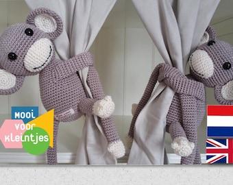 Haakpatroon Jack&Jill gordijnaapjes / crochet pattern Jack and Jill curtain monkeys