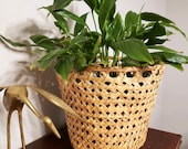 Large sized cane woven basket planter or plant pot. Large enough for plants in 10 inch wide pots. Rattan wicker cane plant basket