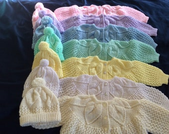 Baby Sweater Set, Knitted Sweater, Baby Cardigan, Sweater Hat Booties;White Sweater;Yellow Sweater;Blue Sweater;Green Sweater;Purple Sweater