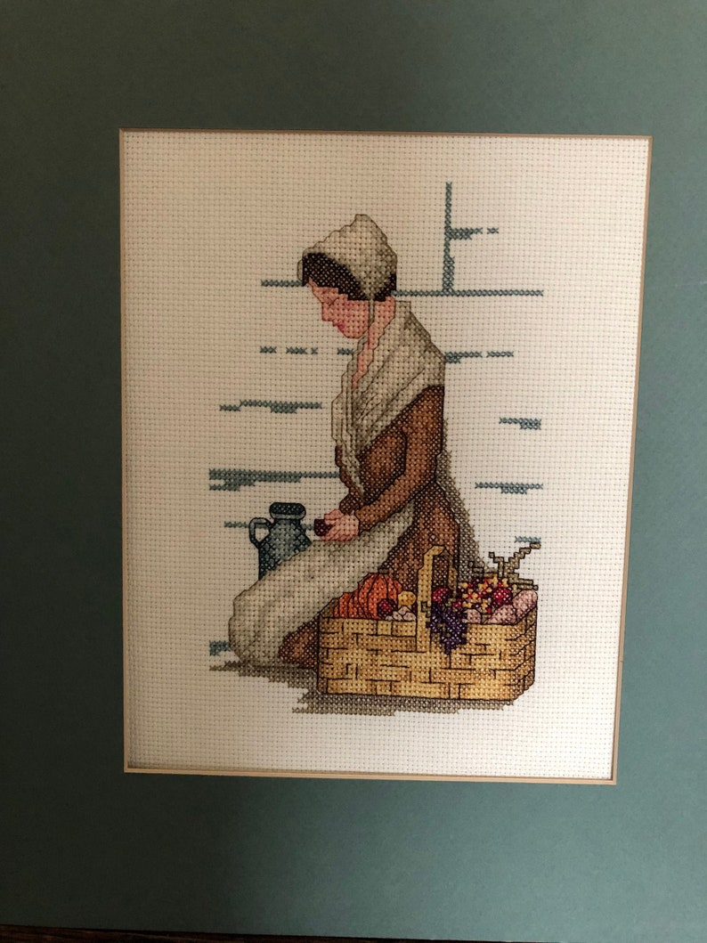 Woman Giving Thanks 1990s Cross Stitch