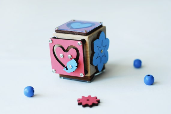 Toys Games Gift For Toddler Travel Busy Cube Birthday Gift Toddlers Busy Cube Motor Skills Travel Toy Educational Toys Wooden Cube Toys