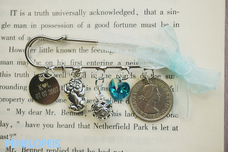 Bridal pin,wedding pin,blue charm,personalized new charm choice:old,new,borrowed,blue,bride to be gift,Bridal Gift\uff0cBride\uff0cSouvenir pin
