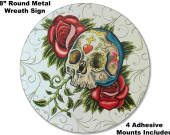 8 METAL WREATH MAKING Sign Dia De Los Muertos #11 Sugar Skull Roses Day of the Dead Mexican Welcome  Gift Adhesive Mounts Included