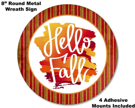 Fall #18 Autumn Vibes Welcome Home Sweet Home  Decor Gift 8 METAL WREATH MAKING Sign Adhesive Mounts Included
