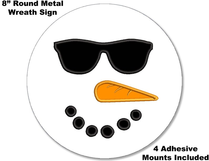 8 METAL WREATH MAKING Sign Adhesive Mounts Included Christmas #23 Merry Christmas Cool Snowman Face Welcome  Holiday Gift