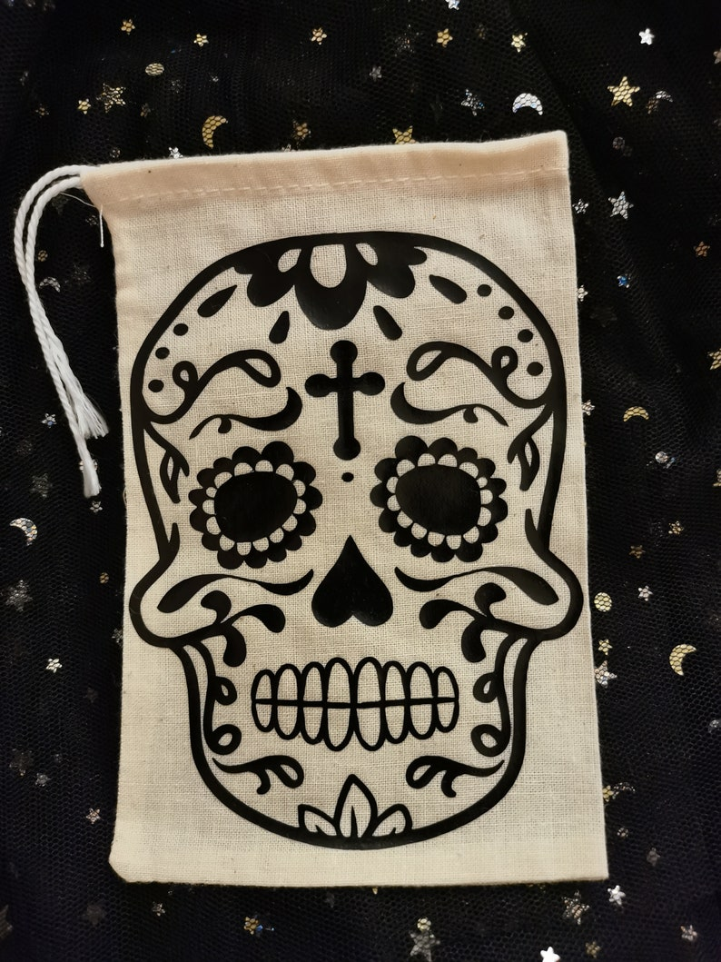 skull sugar skull cotton gift bag wiccan witch pagan yule Christmas gift crystals herbs gothic
