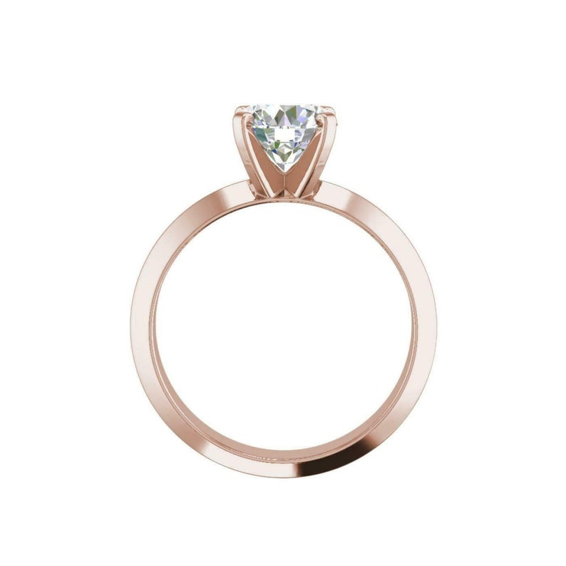 Engagement Ring,Statement Ring,propose ring Solid 14 k rose gold .wedding ring 1.00 ct Adorable MOISSANITE SOLITAIRE RING for your love